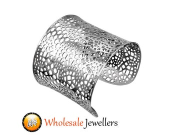 New Stainless Steel Silver Womens Fashion Cuff Bangle Bracelet Adjustable