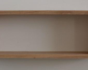 "Solid Black Cherry Real Wood Floating Rectangular Box Shelf, 24.5"" x 9.5"" and 5.5"" deep, Contemporary, DVD, CD, or Book Shelf, Handmade"