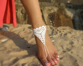 Bridal Barefoot Sandals White crochet barefoot sandals Bridal Foot jewelry Beach wedding barefoot sandals Lace shoes Beach wedding sandals