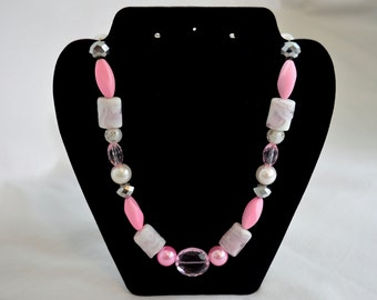 Pink, gray and white glass bead necklace, glass bead necklace