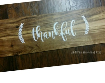 Thankful wooden sign