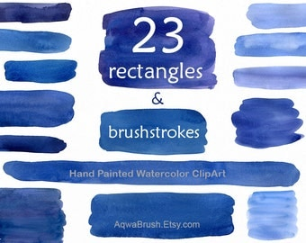 Rectangles and Brush strokes Watercolor Clipart commercial use - hand painted blue navy indigo blue digital background brushstroke spot png