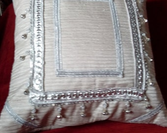 Luxury heavily beaded cushion polyester mix silver trimmings 19x19inch