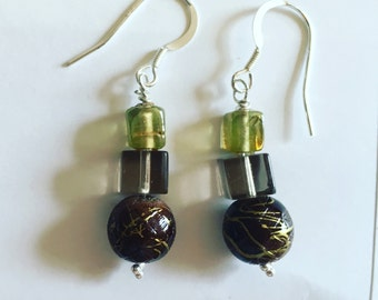 Handmade silver upcycled beaded earrings