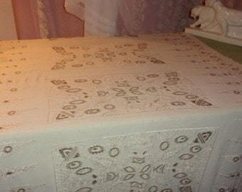 Beautiful old tablecloth embroidered and silky