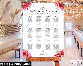 "Wedding Seating Chart Printable Wedding Seating Plan Seating Chart DIY Editable Wedding Chart Seating Wedding PDF Template SC01_18x24"" 002"