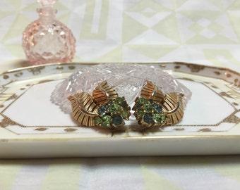 Trifari Gold and Green Rhinestone Leaf Earrings