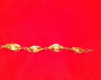 GHW4 Gold herringbone wire weave bracelet