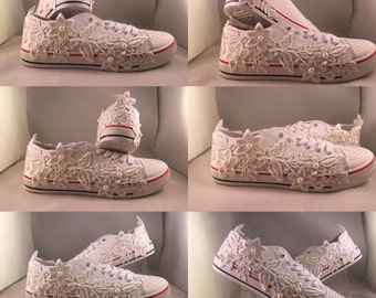 Lace Daisies Converse Style Bridal Trainer Crystal and Pearls