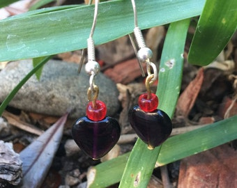Gothic heart earrings