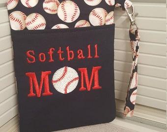 Cute Handmade Softball Mom Phone Wristlet