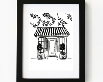 Cafe Shop Front, Illustration Art Print, Cafe Art, Boutique Store, Room decor, Gifts For Her, Wall Art, Poster