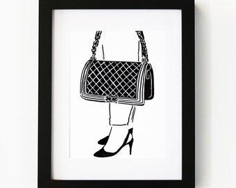 Chanel bag, Illustration Art Print, Room decor, Gifts For Her, Wall Art, Poster