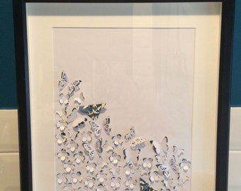 Handmade  Japanese Chiyogami (Yuzen) butterfly wall art