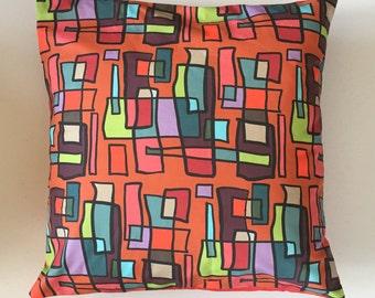 Bright Lights Big City Decorative Pillow-22x22-Throw Pillow-Pillow Cover-Multi-Red-Interior-Design-Fabric-Art-Decorating-Home Decor