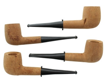 Unfinished Briar Tobacco Pipes - 4 Pack