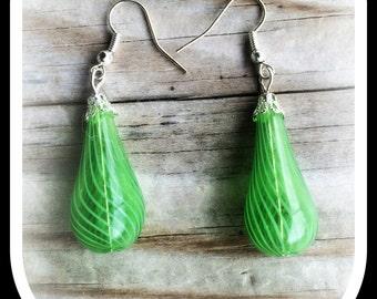 Handblown Glass Earrings, Green Glass Earrings,Handblown Glass with Silver Earring,Lampwork Glass (Ready to Ship)