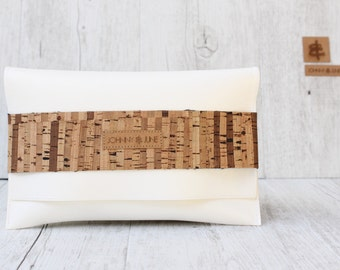 Bridesmaid clutch - CORK white cognac VEGAN