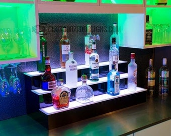 "LED Illuminated Liquor Bottle Display Shelf - 42"" Wide"