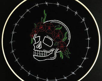 Skull Flower Crown Embroidery
