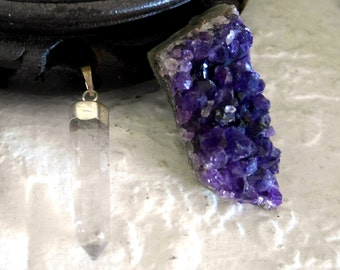 Pendentif Cristal de Roche, monture plaquée argent (plusieurs modèles disponibles)