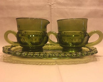 Green Thumbprint Cream and Sugar Bowls with Tray