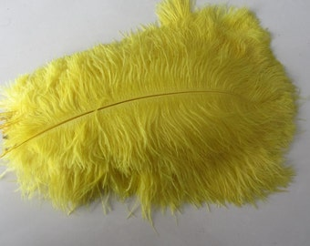 100 Yellow ostrich feathers for handmade items feather centerpiece,hat,fascinator,millinery