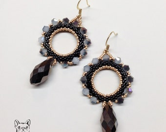 Earrings with beads and bicone-crystal drop