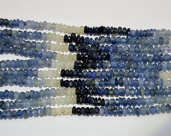 "3-4 MM Natural Blue Sapphire Rondelle Shape Beads, 16"" inch Faceted Gemstone, Blue Sapphire Natural Beads, Blue Sapphire Gemstone, L28"