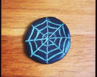 Halloween Spiderweb Glow in the Dark pin!