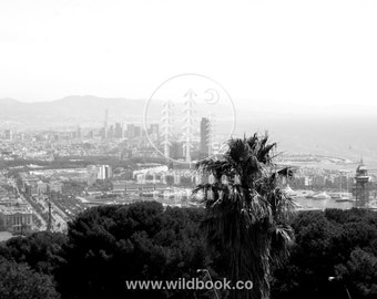 Barcelona Skyline, Black And White Photography - Wallpaper,Wall Art - Print Photo,fine art print,postcard,poster,image - travel tumblr city