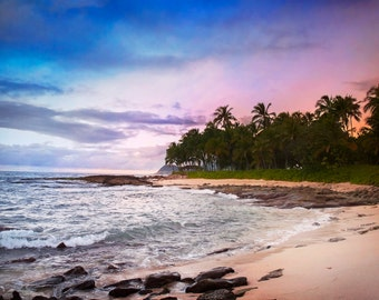 Hawaiian Sunset Photograph, Oahu Hawaii, Sunset Photo, Hawaii Photo, Prints and Canvas available, Home Decor, Art, Large Art,