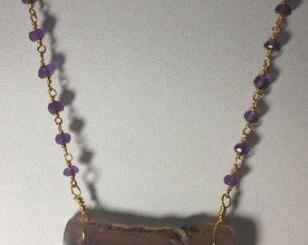 Purple Amethyst slice necklace with gold fill amethyst rosary chain