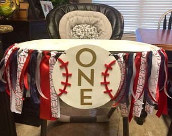 Baseball Theme First Birthday High Chair Banner