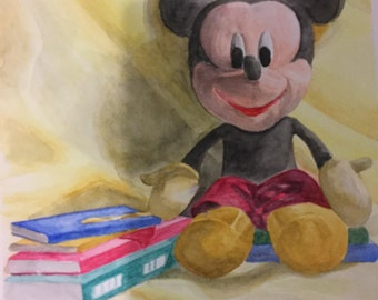 original watercolor painting, 10x14inches, still life, red,yellow,black, Micky mouse