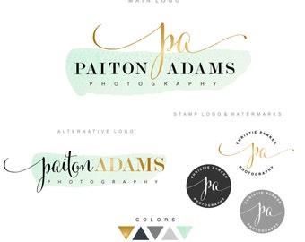 Logo, Premade Branding Kit, Photography logo package, Watermark, Gold initials Logo Design, Stamp Branding kit, Watercolor logo, Business 07