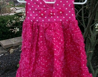 Girls sleeveless dress with sheer floral overlay