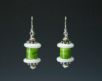 White Glass Spool Bead Earrings - lime green