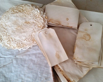 60 Piece Coffee/Tea Dyed Journal Paper Kit - Ephemera, Tags & Doilies...