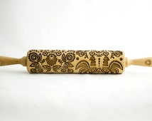 FOLK rolling pin, embossing rolling pin, engraved rolling pin for a gift, Big folk, gift ideas, gifts, unique, autumn, wedding