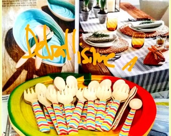 Decorated small wooden forks