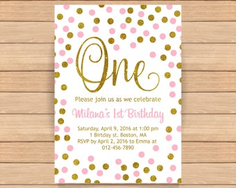 Th Birthday Invitation Pink And Gold Birthday Invitation - First birthday invitations girl pink and gold