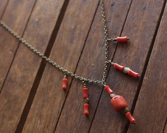 Antiqued Brass and Red Coral Necklace