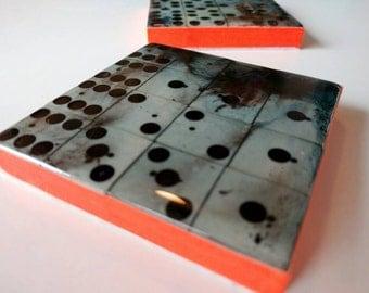 Vintage domino coasters