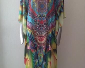 Brazilian Bird Beach Caftan Dress OS