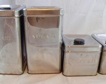 Vintage Garner Ware Chrome Canister Set Four Stackable Retro Kitchen 1950  (22)