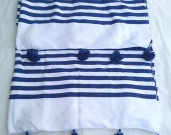 moroccan cotton blanket black strippes