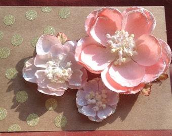Fabric flower greeting card