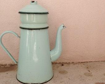 RARE Vintage French Enamelware light green Enamel Coffee Pot