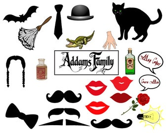Addams Family Photo Booth Prop set of 28